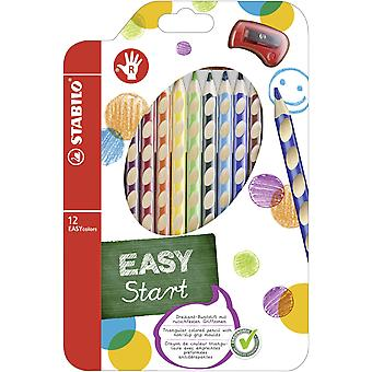 Colouring pencil - stabilo easycolors right handed wallet of 12 assorted colours + sharpener single