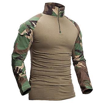 العسكرية التمويه القطن طويلة الأكمام الجيش التكتيكي قميص خارج الملابس