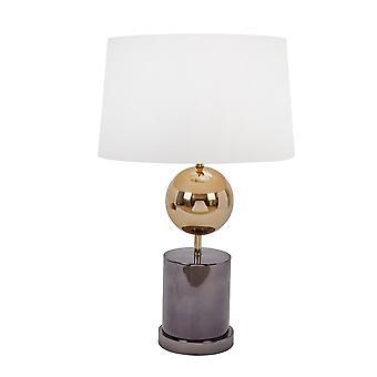 Lámpara de mesa de sombra de tambor cónico con orbe metálico y base de mármol, blanco y negro