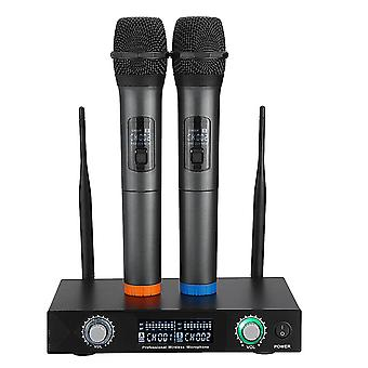 2 Channels Pro Wireless Microphone System UHF Double Handheld Mics Karaoke Home