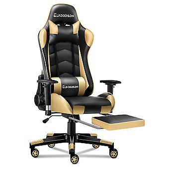 ELFORDSON Gaming Chair Office Executive Racing Seat PU Leather REGAN Gold