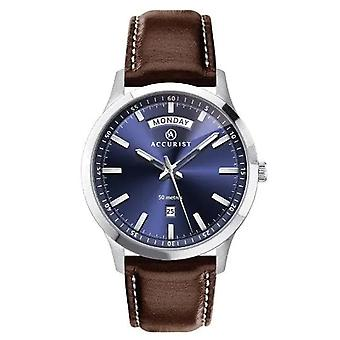 Accurist 7262 Classic Blue & Brown Leather Men's Watch