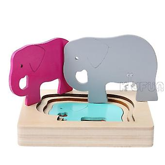 Puzzles Whale Elephant Cartoon Bbay Montessori Educational Toy