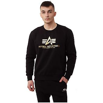 Alpha Industries Basic Sweater Foil Print 178302FP583 universal all year men sweatshirts