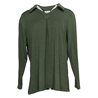 Denim & Co. Camisa Celestial De Manga Comprida Pleating Verde A371753