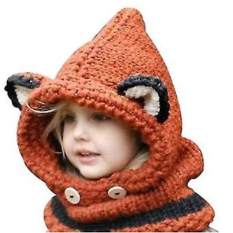 Winter Warm Earmuffs Hat Scarf Creative Fox Wool Knitted Shawl Hooded Scarf Gifts For Boys And Girls Aged 3-12