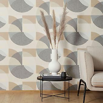 Elle Decoration Geometric Circle Graphic Wallpaper Mustard Grey Beige 1015002