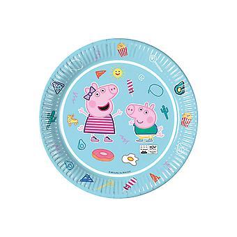 8 Assiettes en carton Peppa Pig bleues 23 cm