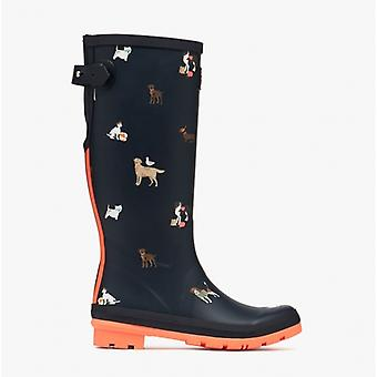 Joules Welly Print Ladies Rubber Wellies Navy Beach Dogs