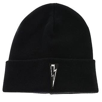 Neil Barrett Bolt Logo Beanie Black Hat