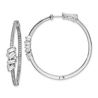 925 Sterling Silver CZ Cubic Zirconia Simulerad diamant gångjärn i utringning örhängen mäter 41.4x41.1mm Bred 6.8mm Thic