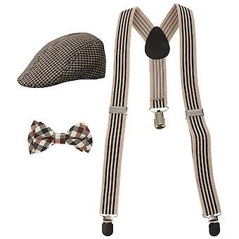 Rekbare Y-back bretel, bowtie en baret cap, platte hoed set