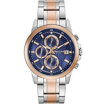 Kenneth Cole Kc50733001 Modern Dress Sport Two Tone Stainless Steel Chronograph Mens Watch