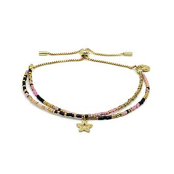 Boho betty clarinet pink 2 row beaded friendship bracelet