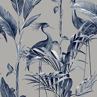 Azzurra Leaf Navy Silver Wallpaper
