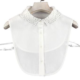 אנטי קמט חצי חולצות רקמה צווארון שווא תחרה חלולה חולצה נתיקה