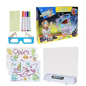 Océan 3d planche à dessin fluorescente pour enfants jeu led planche à dessin coloré clignotant tableau de graffiti océan espace dinosaure az11609