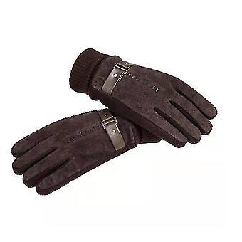 Men's Pigskin Gloves Winter Skiing Outdoor Riding Warm Thick Non-slip Gloves(Brown)