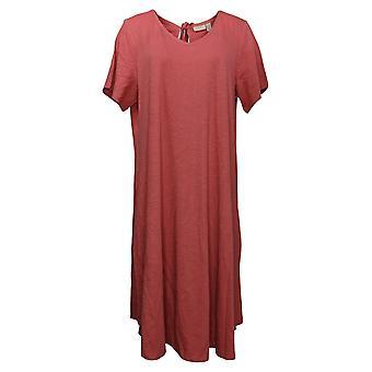 LOGO by Lori Goldstein Plus Dress Cotton Slub Tie Back Neck Pink A352009