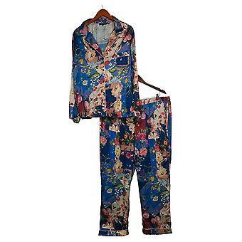 Coleção Tolani Women's Pajama Set Impressão Botão Tecido Azul A390127