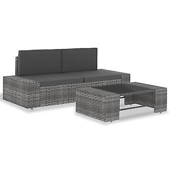 vidaXL 3 stuks. Garden Lounge Set Poly Rotan Grijs