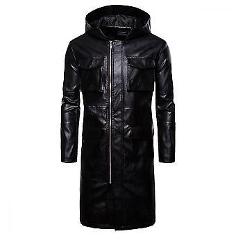 Giacca yunyun uomo in pelle con cappuccio tascabile con cappuccio per la cerniera per motociclette a prova di vento
