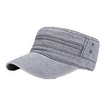 Casual Katoen Soldier Denim Sun Hat Visor Solid Flat (Grijs)