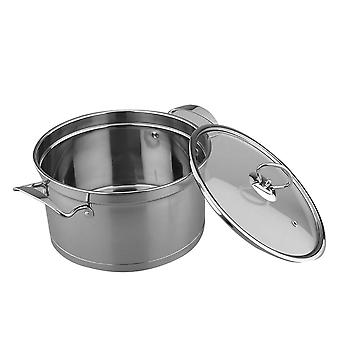 18cm Stainless Steel Stock Pot With Lid Thickened Harm Free Soup Pot Cooking Pot Cookware(silver)
