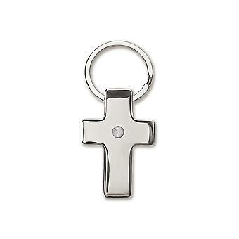 LAST FEW - Silver Metal Christian Cross Keyring - Cracker Filler Gift