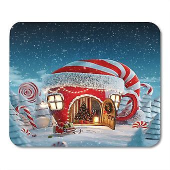 (220X180X3) Yanteng Mouse Pads Mouse Pads Amazing Fairy House in Elfs Hat Decorado en Navidad