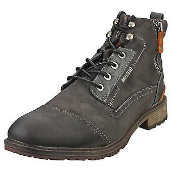 Mustang Lace Up Side Zip Mens Casual Boots in Graphite