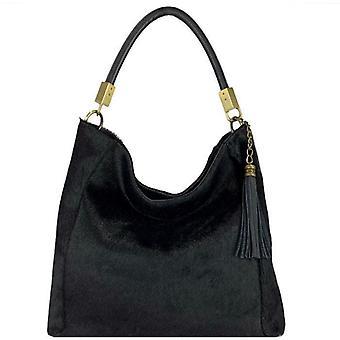 Black Hair On Leather Tassel Grab Bag