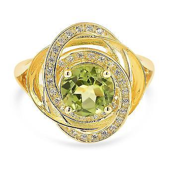 TJC Peridot, Weißer ZirkonWirbelring Vergoldet Silber Schmuck Geschenk 2.25ct(N)