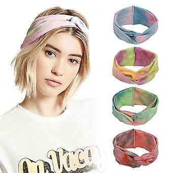 5pcs Elastic Yoga Sports Headband Tie Dye Wide Fitness Hair Band
