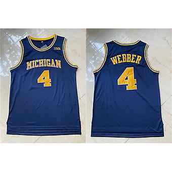 Men's Basketball Jersey #4 Webber Space Movie Jerseys 90s Hip Hop Stitched Clothing For Party Outdoor Sports T-shirt Blue S-xxl