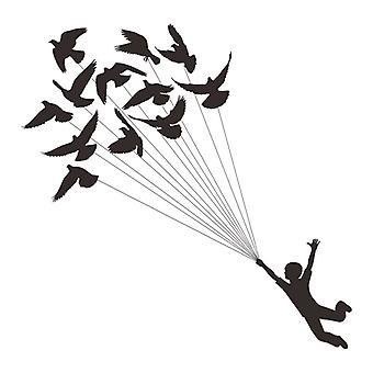 Black Flying Birdie Muurstickers Decals Slaapkamer Achtergrond Home Decor Wallpaper