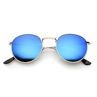 Classique Temple Slim métal texturé de nez de pont en miroir lentille lunette ronde 49mm