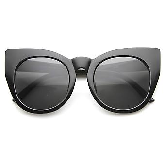 Womens Oversized High Fashion Bold Rimmed Glam Round Cat Eye Sunglasses