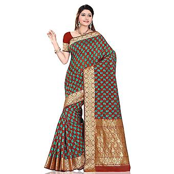 Brown with sea green Art Silk Sari Saree bellydance wrap