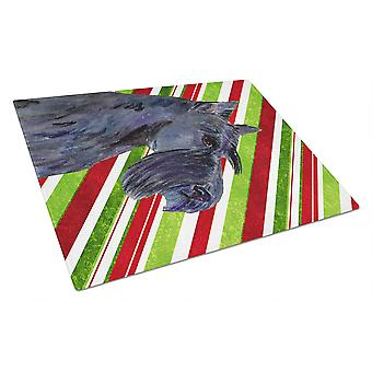 Scottish Terrier Candy Cane Holiday Christmas Glass Cutting Board Large