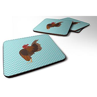 Set of 4 Malaysian Serama Chicken Blue Check Foam Coasters Set of 4