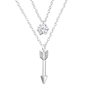 Arrow Layered - 925 Sterling Silver Jewelled Necklaces - W33006X