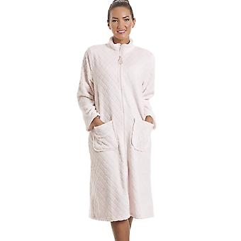 Camille Soft Fleece Pink Zip Front House Coat