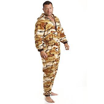 Camille Mens All In One zand woestijn Print Fleece Hooded gepot pyjama's Onesie grootte S-5XL