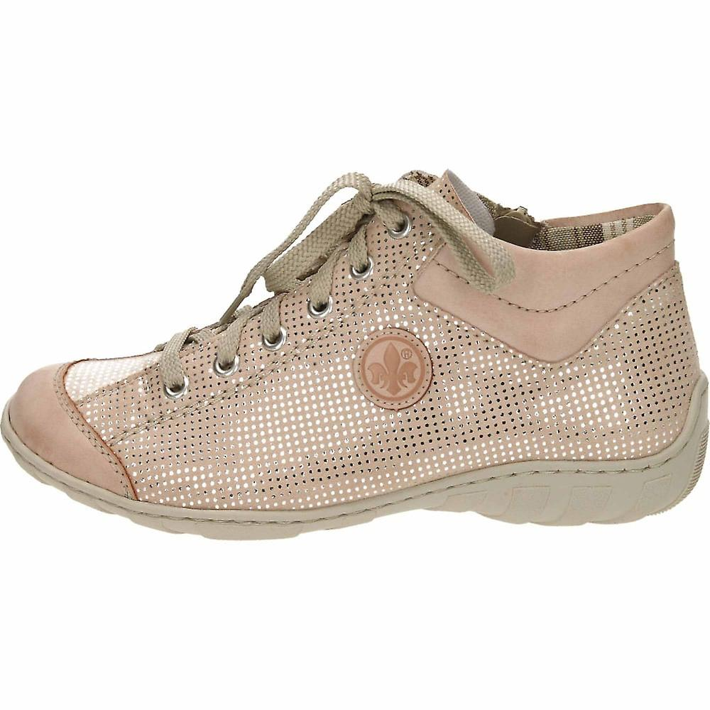 Rieker Lace Up Metallic High-Top Trainers M3738-31 Pale Pink