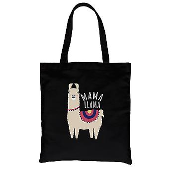Mama Llama Black Heavy Cotton Canvas Bag For Mother's Day Gifts