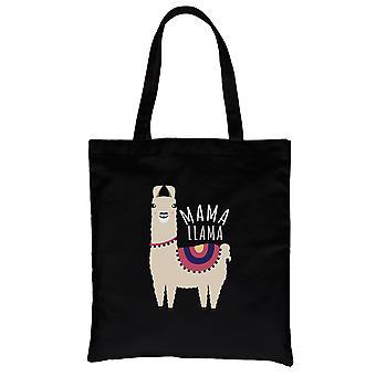 Mama Llama Black Heavy Cotton Płócienna torba na prezenty na dzień matki