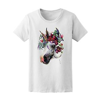 Floral krans Unicorn Tee kvinners-bilde av Shutterstock