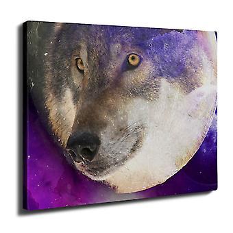 Moon Animal Wolf Wall Art Canvas 40cm x 30cm | Wellcoda