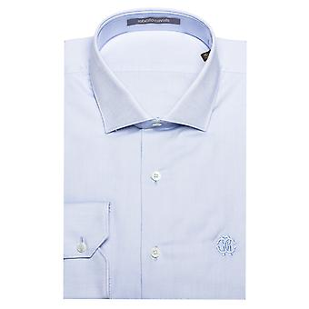 Roberto Cavalli Men's Spread Collar Cotton Dress Shirt Sky Blue